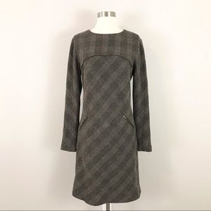 Peruvian Connection 10 Wool Blend Plaid Dress Black Gray